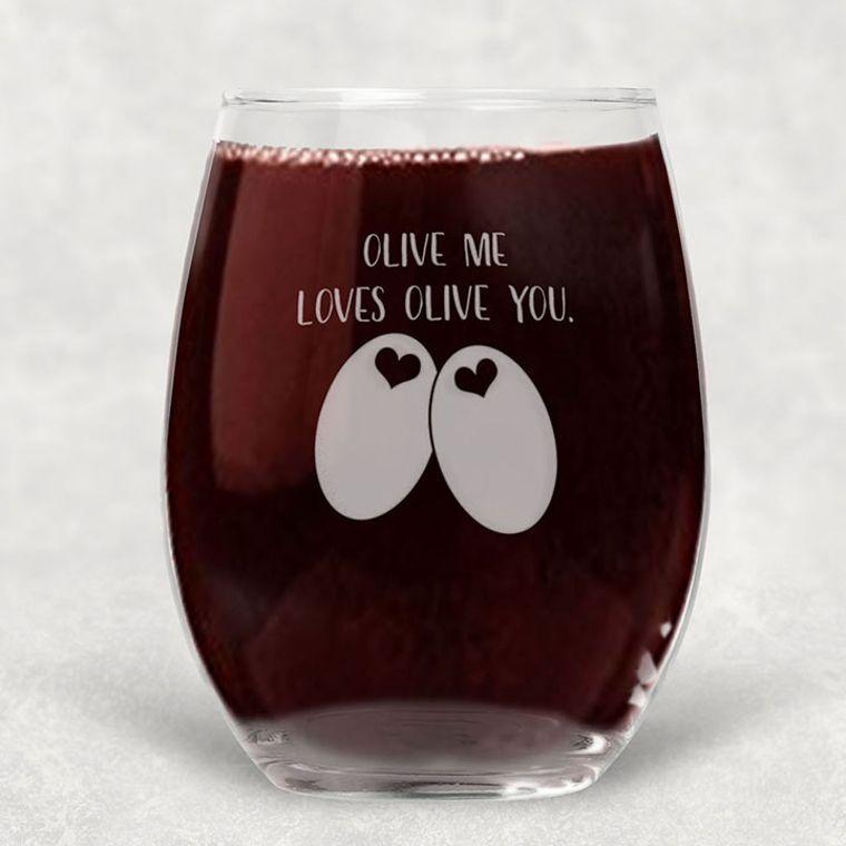 Olive you Loves Olive Me Engraved Stemless Wine Glass - 21 oz.
