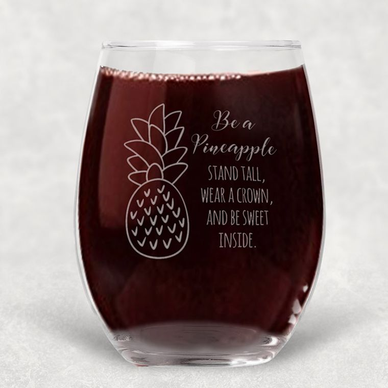 Be a Pineapple Engraved Stemless Wine Glass - 21 oz.