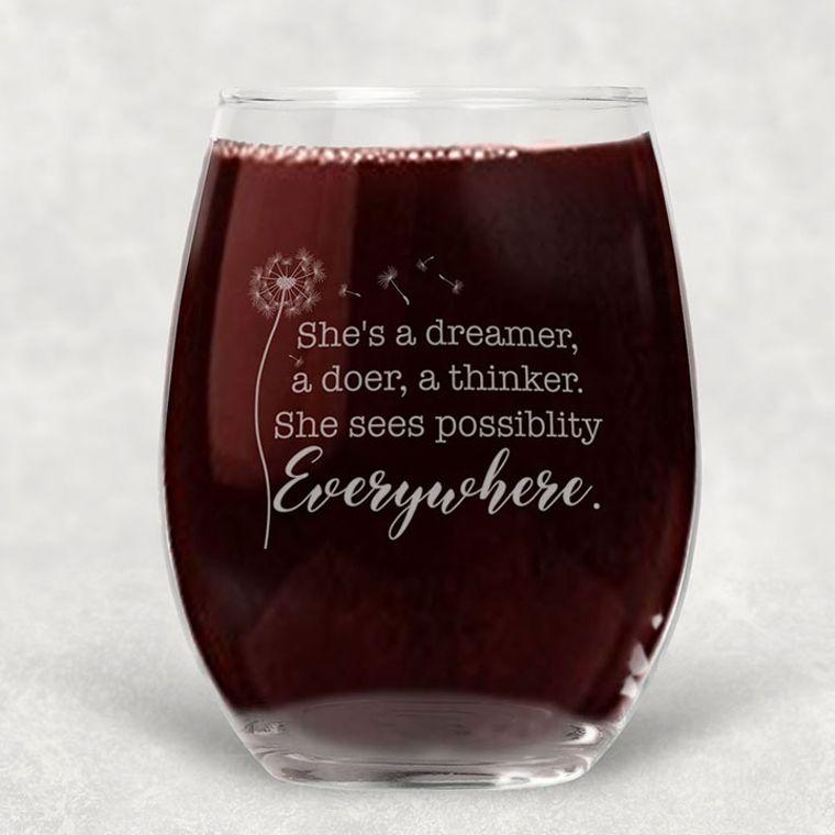 She's a Dreamer Engraved Stemless Wine Glass - 21 oz.
