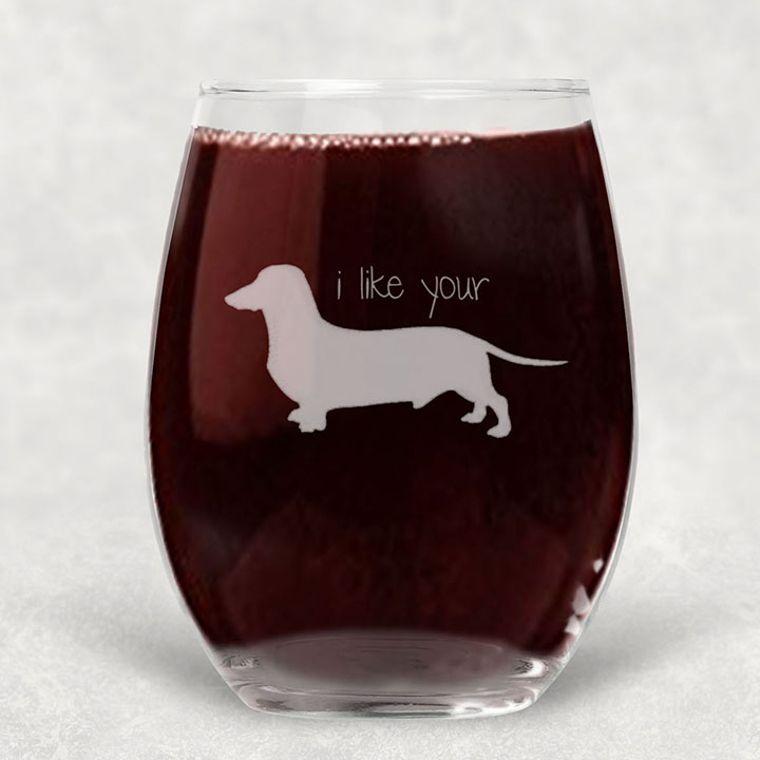 I Like Your Wiener Dachshund Engraved Stemless Wine Glass - 21 oz.