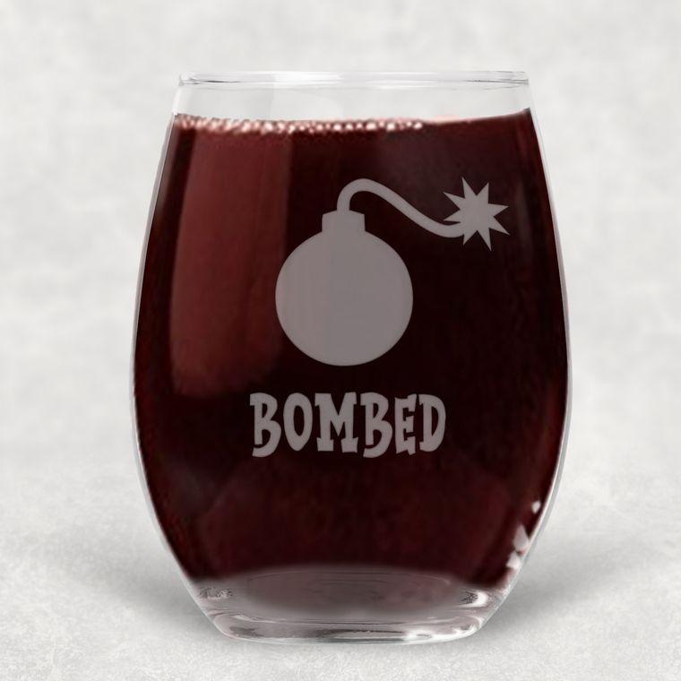 Bombed Engraved Stemless Wine Glass - 21 oz.