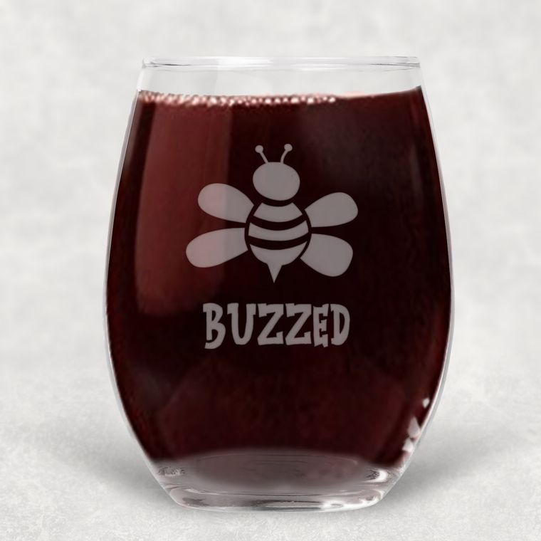 Buzzed Bumble Bee Engraved Stemless Wine Glass - 21 oz.