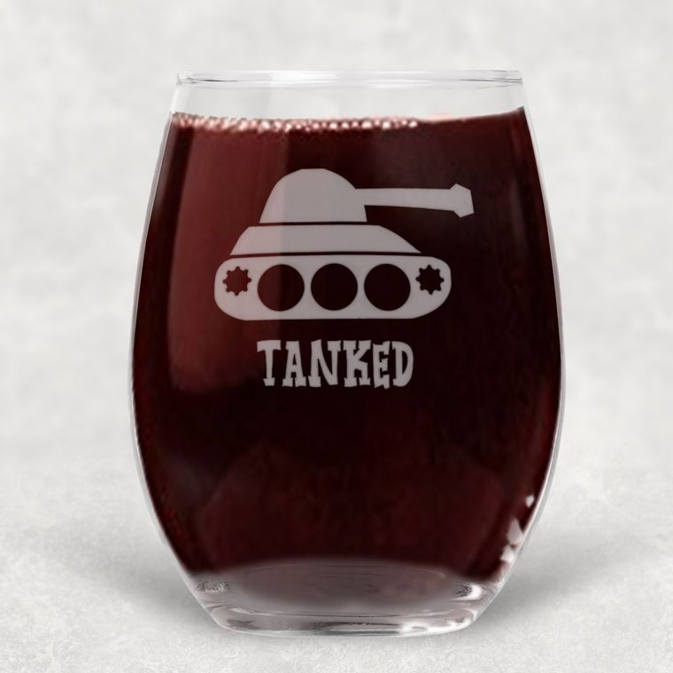Tanked Funny Engraved Stemless Wine Glass - 21 oz.
