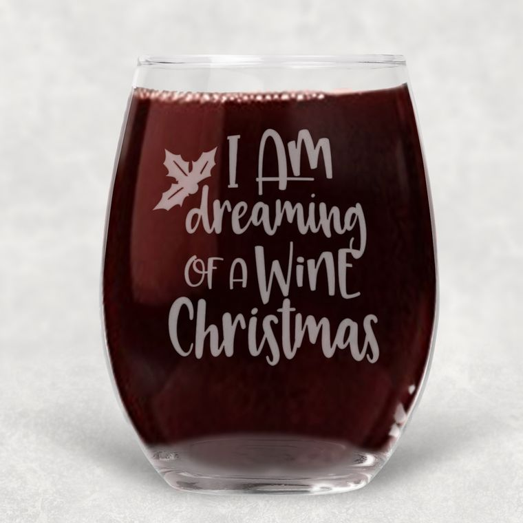 I'm Dreaming of a Wine Christmas Engraved Stemless Wine Glass - 21 oz.
