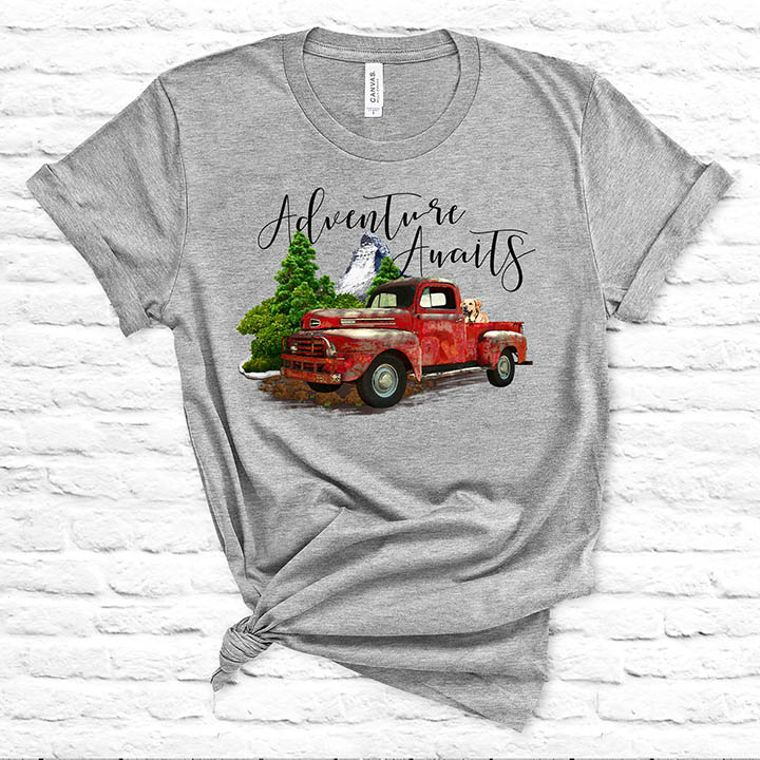 Adventure Awaits Vintage Truck T-Shirt