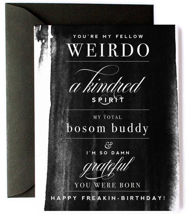Bosom Buddy Funny Birthday Card - Black watercolor card
