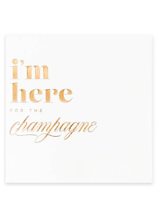 I'm Here for the Champagne, Rose Gold & White Cocktail Party Napkin