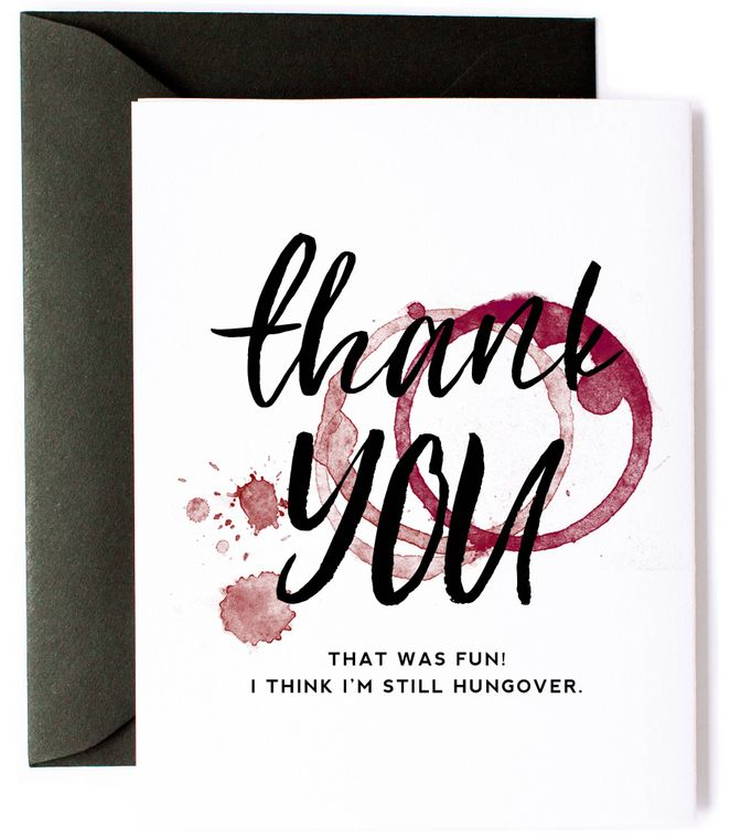 Still Hungover Wine Thank You Card