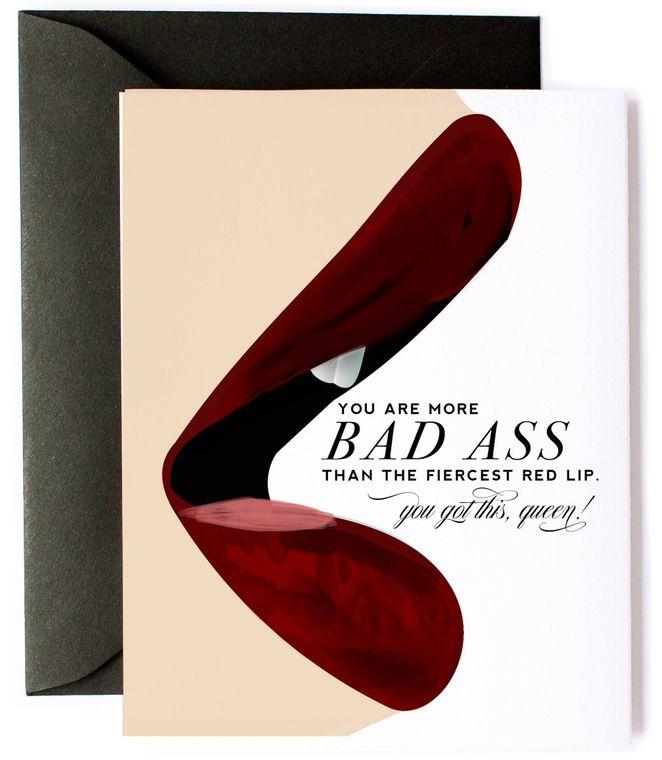 Friendship Card - Fierce Red Lip Bad Ass Encouragement Card