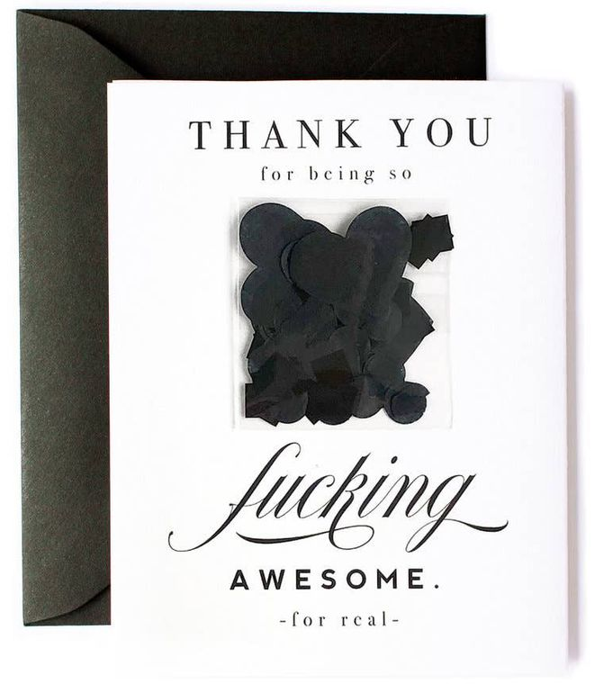 Thank You for Being So Awesome, Funny Thanks, Black Confetti