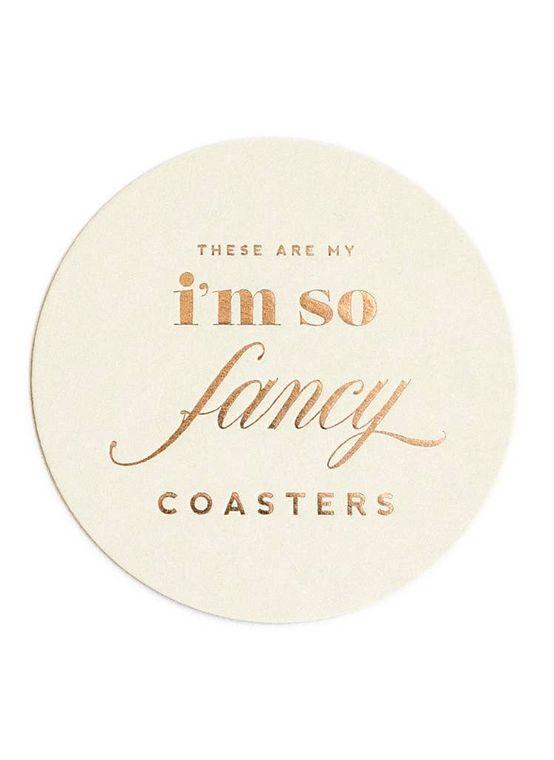 I'm So Fancy, Rose Gold Foil Coaster Set - Cocktail Gift Set