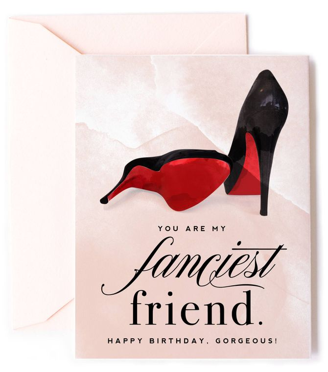 Fanciest Friend Birthday Card with Red Bottom High Heels - Fashion Birthday Card
