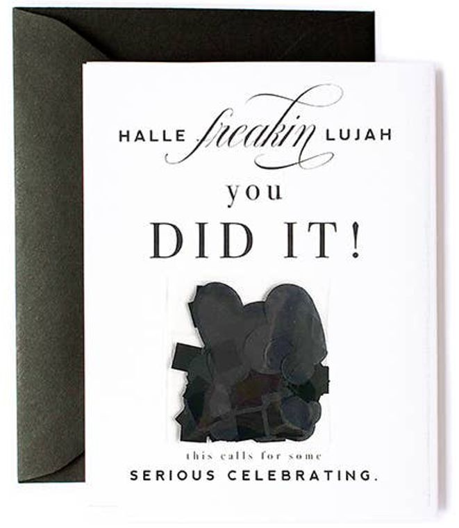 Hallelujah You Did It Black Confetti Card