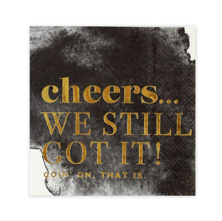 Cheers! Black & White Watercolor Cocktail Party Napkins