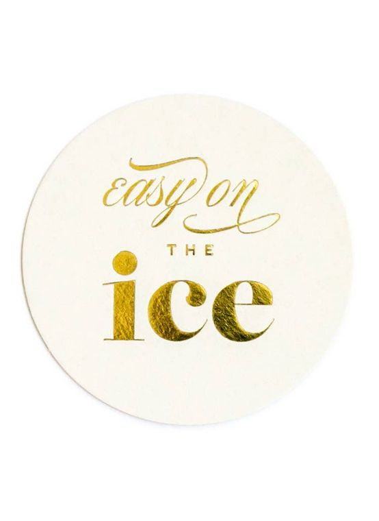 Easy on the Ice - Gold Foil Coaster Set
