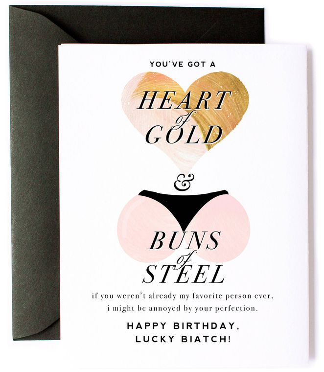 """Heart of Gold & Buns of Steel"" - Funny, Birthday Card"