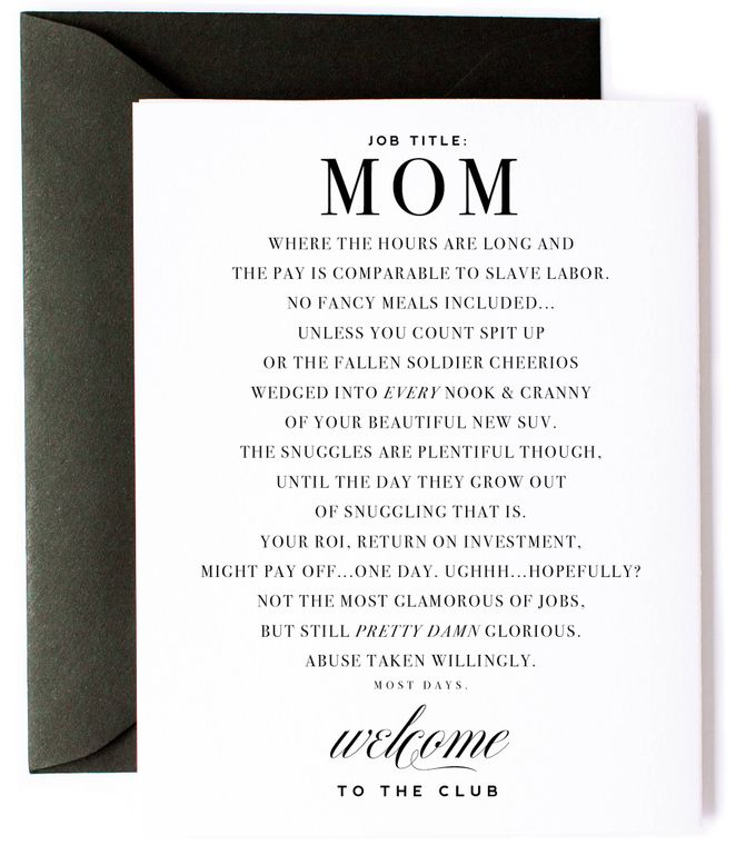 Mom Club - Funny New Mom Card & Mom Friendship Card