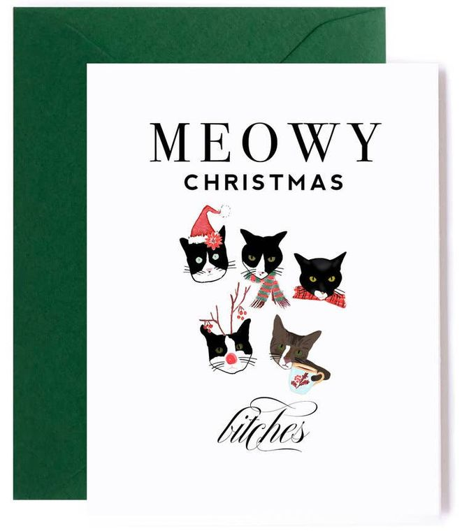 Meowy Christmas Card, Funny Cat Christmas Card