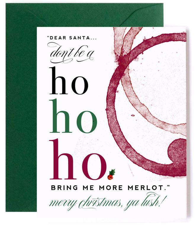 Ho Ho Ho Merlot Card - Christmas Card