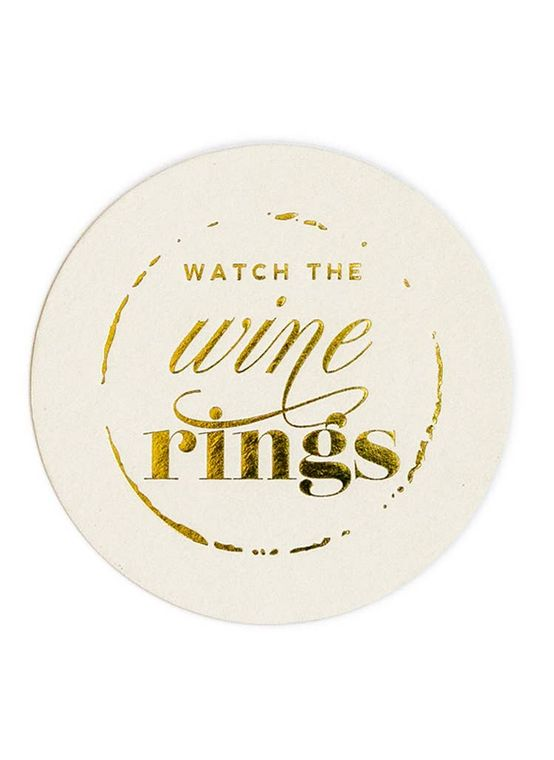 Watch the Wine Rings - Gold Foil Coaster Set