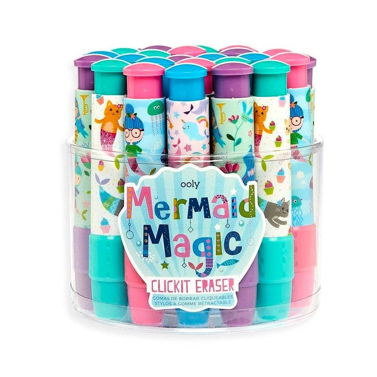 Click-It Erasers: Mermaid Magic Tub of 24