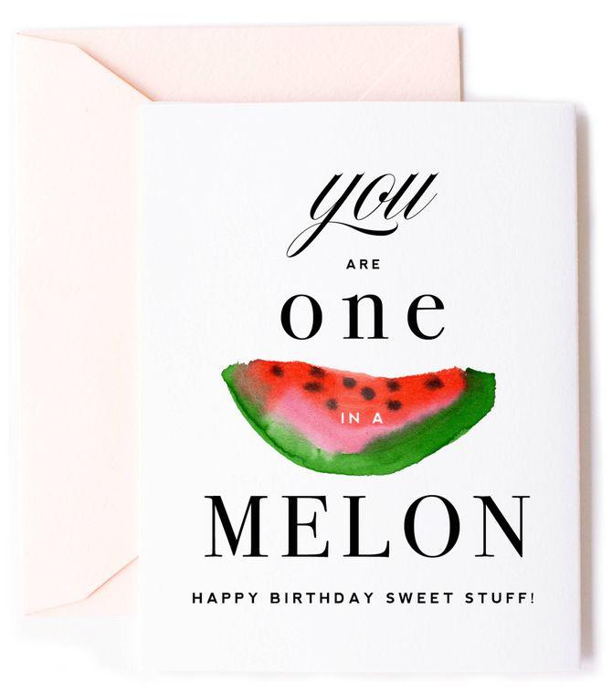 One in A Melon, Watermelon Birthday Card
