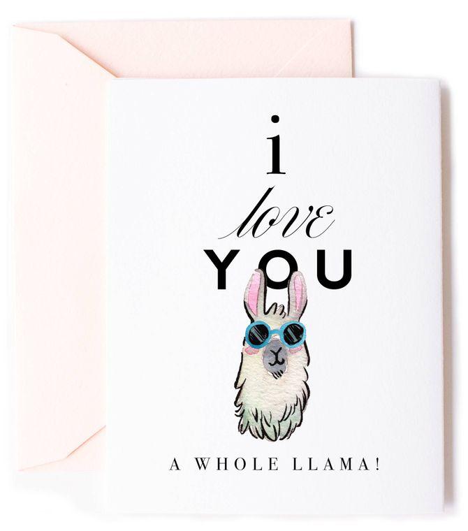 Love you a Llama Card - Pun Love Card & Anniversary Card