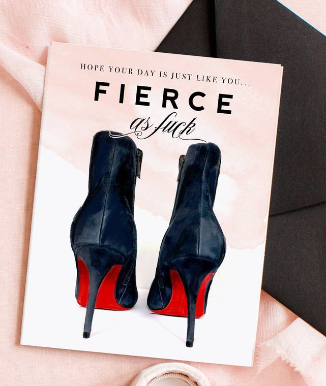Fierce AF, Red Bottom Shoes - Fashion Birthday Card