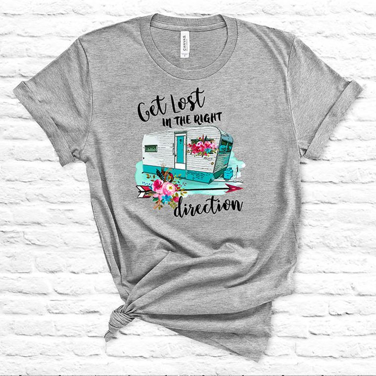 Get Lost in the Right Direction Vintage Camper T-shirt
