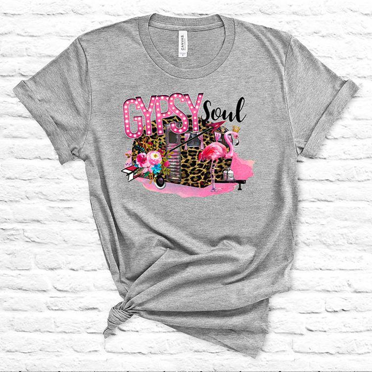 Gypsy Soul Vintage Camper/Flamingo T-shirt