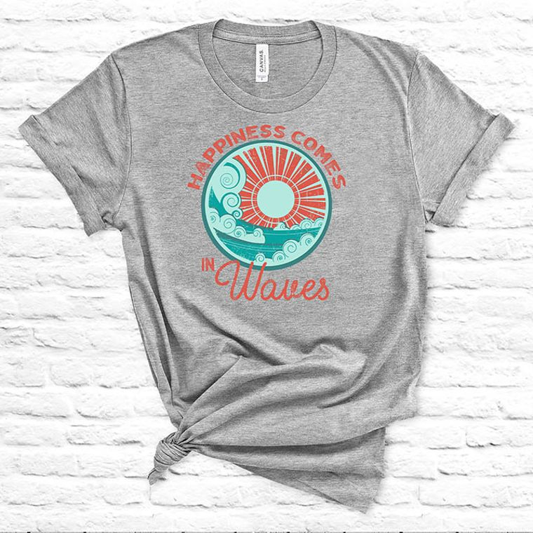 Happiness Comes in Waves Ocean T-shirt