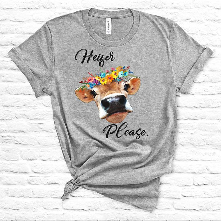Heifer, Please Floral Funny Cow T-shirt