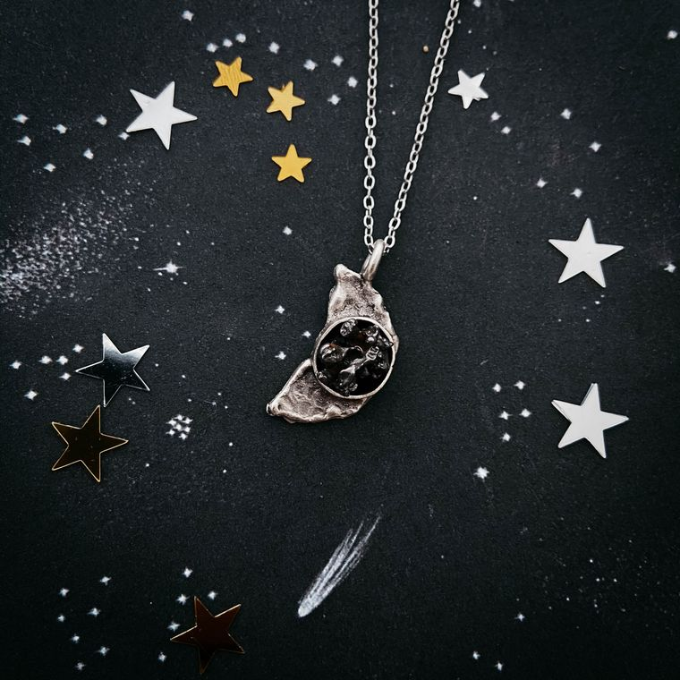 Crescent Moon Necklace with Meteorite