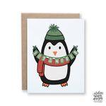 Joy To The World Penguin, Christmas Card