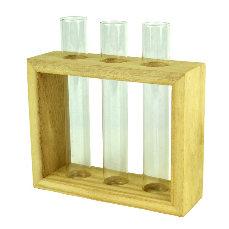 "Touch of Nature 6.5"" Rectangular Wooden Frame with Three Glass Vials, 1pc"