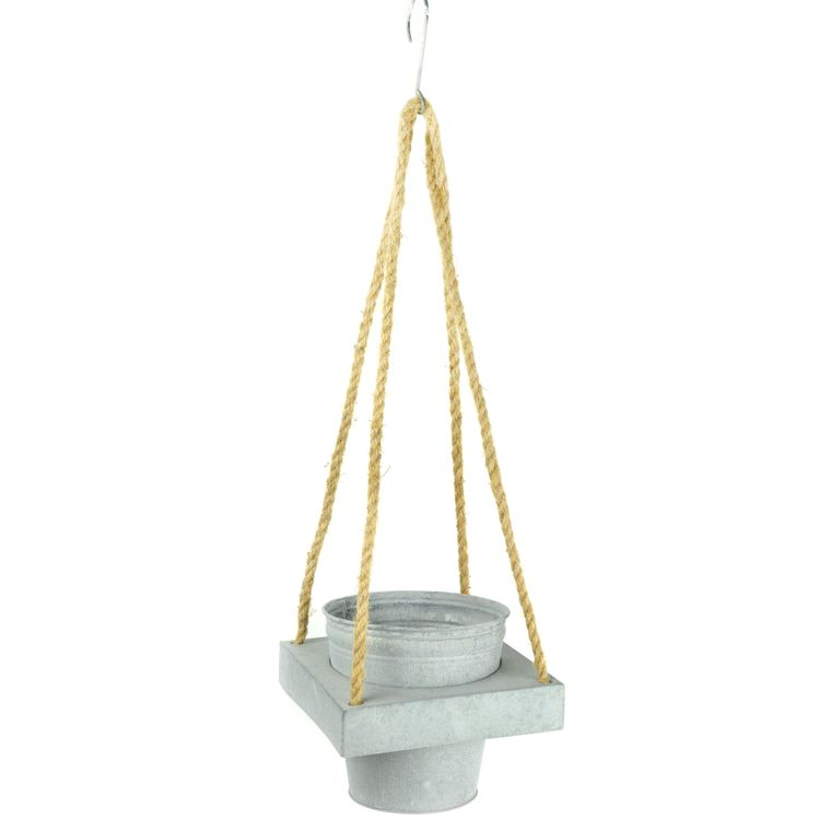 "Touch of Nature 23"" Single Galvanized Pot Hanger with Rope, 2 pc"