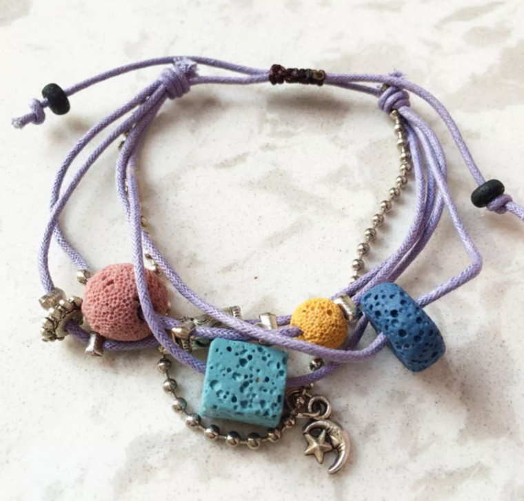 Lava Stone Essential Oil Bracelet - Purple Lava Charms