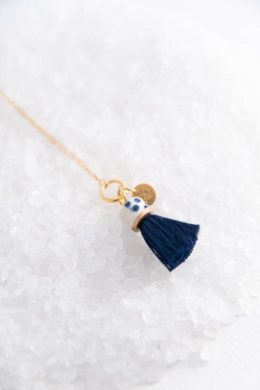 Midnight Mini Topped Tassel Necklace