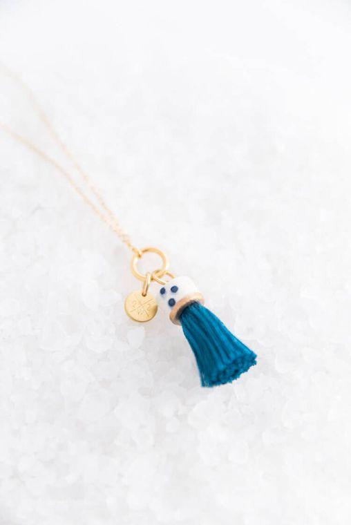 Jade Mini Topped Tassel Necklace