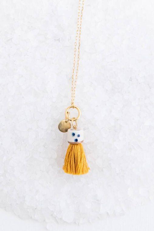 Marigold Mini Topped Tassel Necklace