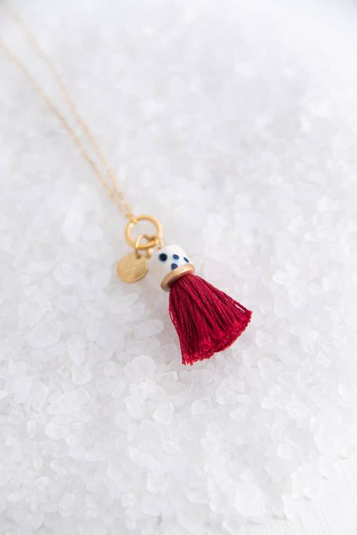 Ruby Mini Topped Tassel Necklace