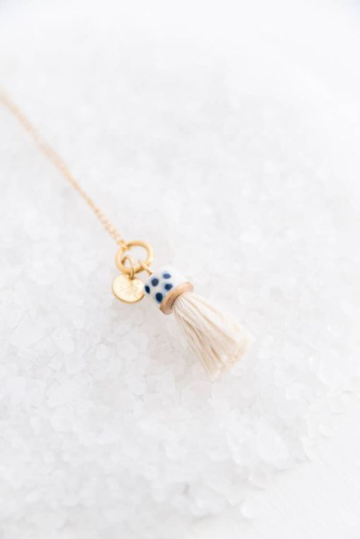 Natural Mini Topped Tassel Necklace
