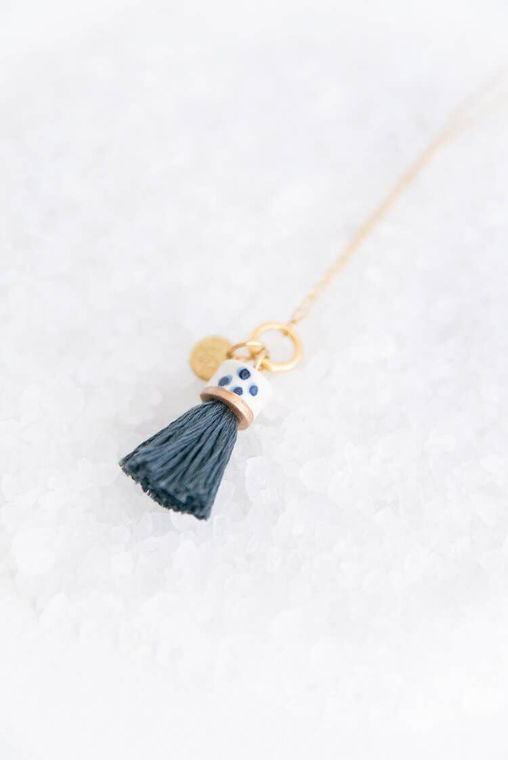 Slate Mini Topped Tassel Necklace