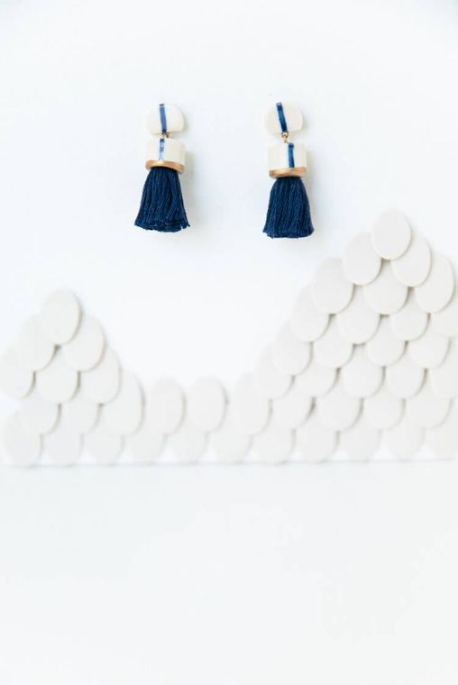 Topped Tassel Earrings