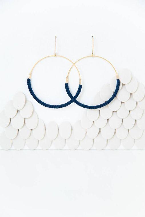 Midnight Macramé Hoop Earrings
