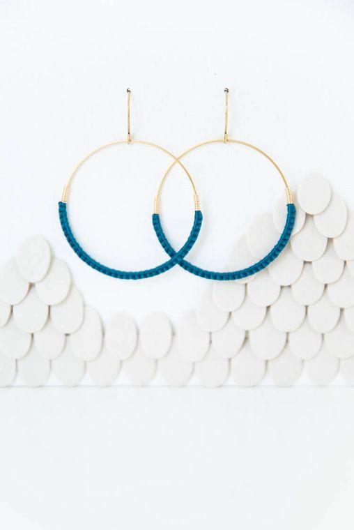 Jade Macramé Hoop Earrings