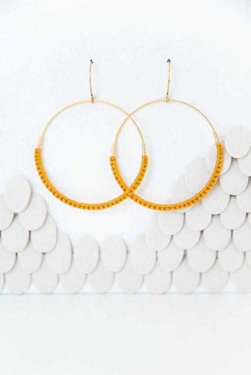 Marigold Macramé Hoop Earrings