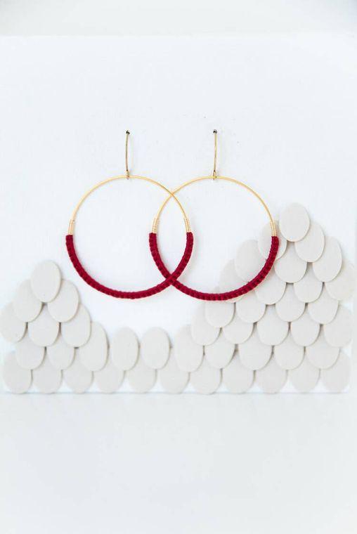 Ruby Macramé Hoop Earrings