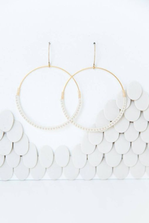 Natural Macramé Hoop Earrings