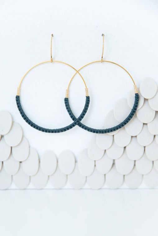 Slate Macramé Hoop Earrings